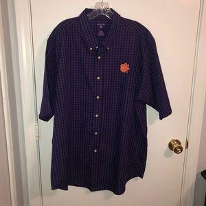 Men's Antigua Clemson Purple Plaid Button Down XXL